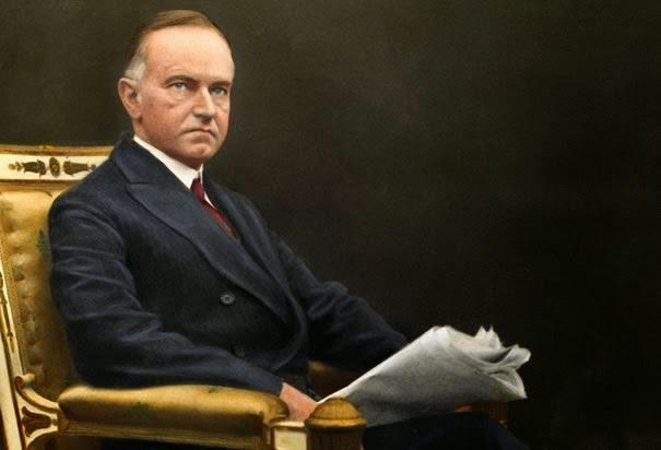 calvin coolidge newspaper painting