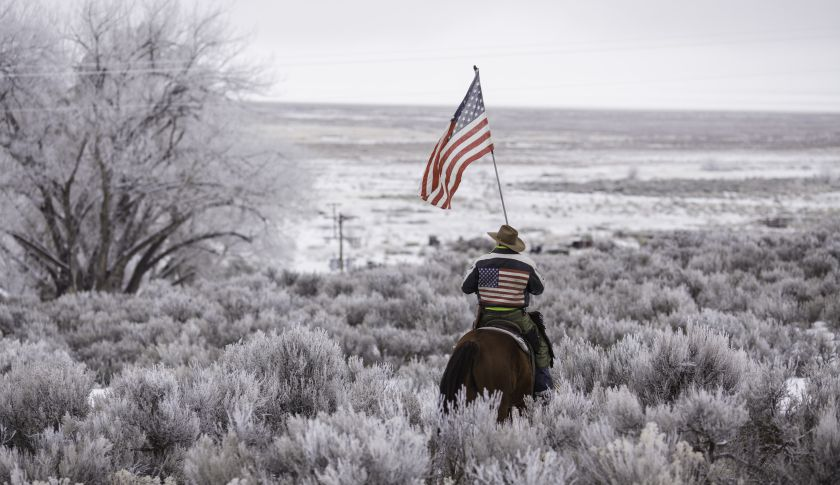 TOPSHOT - Duane Ehmer rides his horse Hellboy at the occupied Malheur National Wildlife Refuge on the sixth day of the occupation of the federal building in Burns, Oregon on January 7, 2016. The leader of a small group of armed activists who have occupied a remote wildlife refuge in Oregon hinted on Wednesday that the standoff may be nearing its end. AFP PHOTO / ROB KERR / AFP / ROB KERR        (Photo credit should read ROB KERR/AFP/Getty Images)
