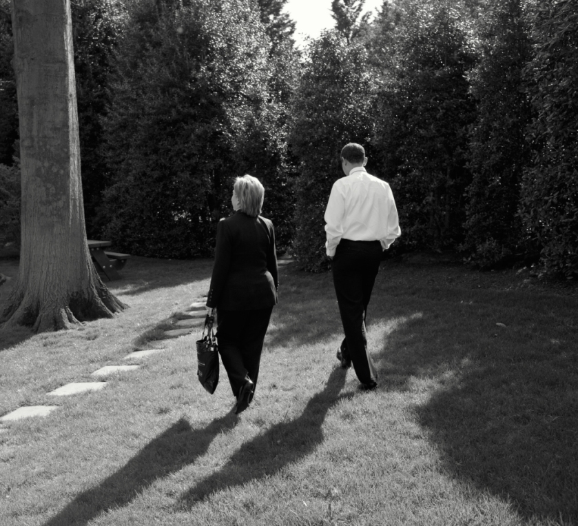 President Barack Obama walks with Secretary of State Hillary Rodham Clinton outside the Oval Office following their meeting April 9, 2009. Official White House Photo by Pete Souza