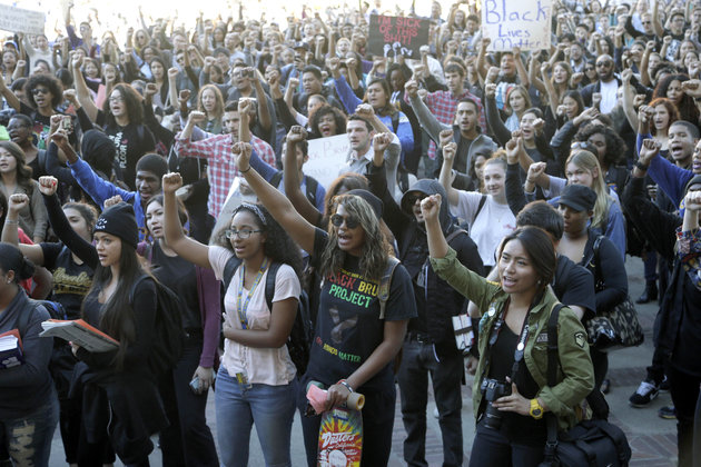 University California Los Angeles students stage a protest rally in a show of solidarity with protesters at the University of Missouri on Thursday, Nov. 12, 2015 in Los Angeles. Thousands of students across the U.S. took part in demonstrations at university campuses Thursday to show solidarity with protesters at the University of Missouri, and to shine a light on what they say are racial problems at their own schools. (AP Photo/Nick Ut)