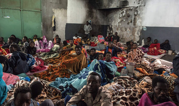 migrants piled up in Libya