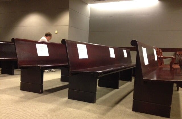 Empty benches where the mainstream media was supposed to be during the trial