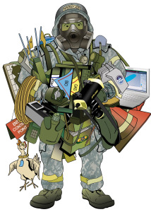 Prepper Geek with equipment and gear
