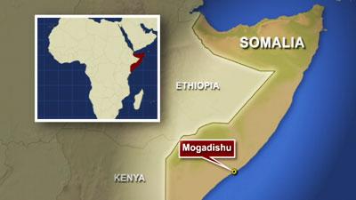 The city of Mogadishu, in Somalia, Africa