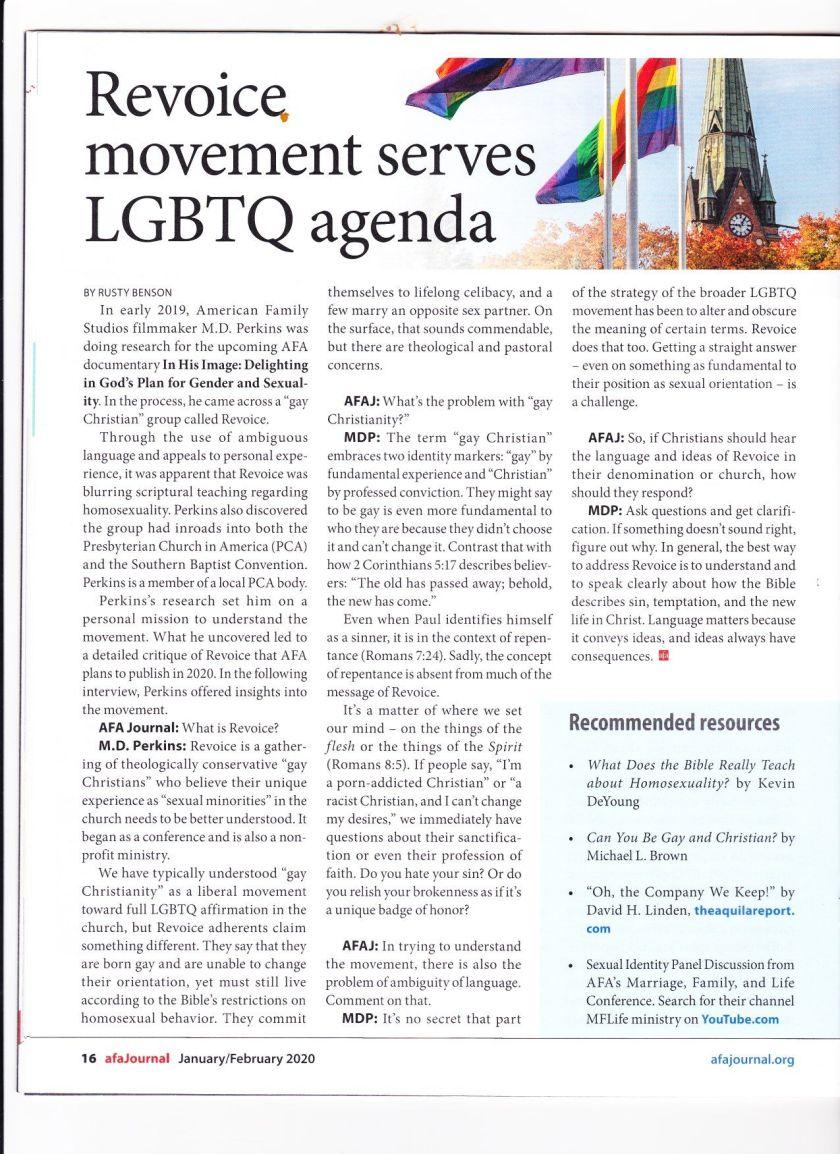 AFA REVOICE MOVEMENT SERVES LGBTQ AGENDA