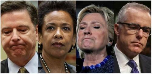 Left to right: Comey, Lynch, Clinton, McCabe